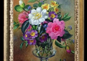 Tablou pictat cu flori de camelii, flori clopotei, tablou cu flori de petunii, Tablou floral, idei de cadouri, aranjamente  florale pentru ocazii deosebite