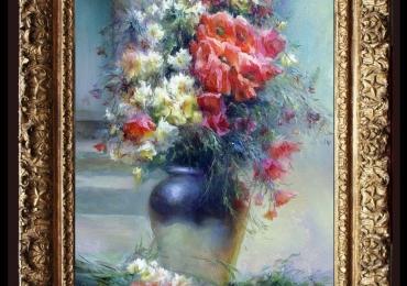 Tablou pictat cu flori de camp in glastra albastru cu alb, tablou cu buchet de flori delicate, Tablou floral, idei de cadouri, aranjamente  florale