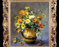Tablou pictat cu flori de galbenele, talou cu buchet de flori in ulcica de lut, Tablou floral, idei de cadouri, aranjamente  florale pentru ocazii deosebite