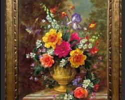 Tablou pictat cu flori de gradina intr-un vas sculptat, Tablou floral, idei de cadouri, aranjamente  florale pentru ocazii deosebite