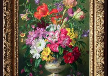 Tablou pictat cu flori de lalele, flori stanjenei roz, flori de camelii, flori clopotei, buchet de flori in vas ceramic pictat, Tablou floral, idei de cadouri