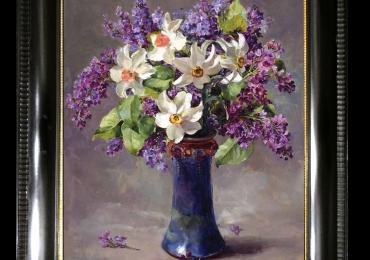 Tablou pictat cu flori de liliac, tablou cu flori de narcise, Tablou floral, idei de cadouri, aranjamente  florale pentru ocazii deosebite