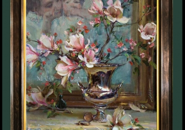 Tablou pictat cu flori de magnolii,, Tablou floral, idei de cadouri, aranjamente  florale pentru ocazii deosebite