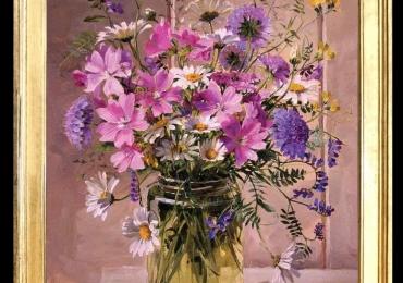 Tablou pictat cu flori de munte, tablou cu flori mov, Tablou floral, idei de cadouri, aranjamente  florale pentru ocazii deosebite