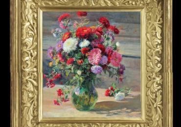 Tablou pictat cu flori de muscata si tufanica de gradina, Tablou floral, idei de cadouri, aranjamente  florale pentru ocazii deosebite