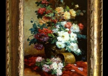Tablou pictat cu flori de toamna, tablou floral, tablou cu buchet de flori, Tablou floral, idei de cadouri, aranjamente  florale pentru ocazii deosebite