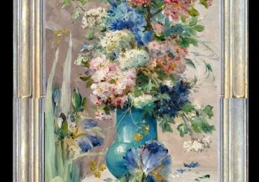 Tablou pictat cu flori in vaza albastra, tablou culori pastelate, tablou floral delicat, Tablou floral, idei de cadouri, aranjamente  florale