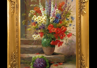 Tablou pictat cu flori in vaza, tablou cu buchet de flori, tablou floral, pictura cu flori de mai, Tablou floral, idei de cadouri, aranjamente  florale pentru ocazii deosebite