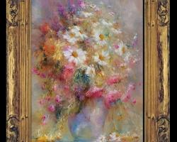 Tablou pictat cu flori pastelate, tablou cu buchet de flori, tablouri cu aranjamente florale, picturi florale
