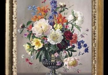 Tablou pictat cu flori salbatice, tablou cu buchet de flori in vaza de argint, Tablou floral, idei de cadouri, aranjamente  florale pentru ocazii deosebite