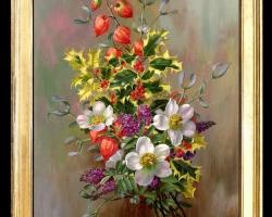 Tablou pictat cu flori, tablou cu flori multicolore, tablou floral, Tablou floral, idei de cadouri, aranjamente  florale pentru ocazii deosebite