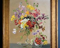 Tablou pictat cu flori, tablou cu frezii si flori de primavara,, Tablou floral, idei de cadouri, aranjamente  florale pentru ocazii deosebite