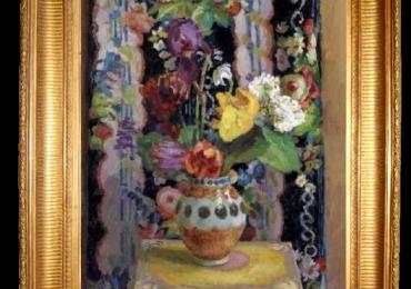 Tablou pictat cu flori, tablou impresionist, tabloubuchet de flori in vas de lut, Tablou floral, idei de cadouri, aranjamente  florale