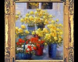 Tablou pictat cu flori, tablou pictat cu cosuri de trandafiri galbeni de gradina, tablou cu buchete de flori, tablou cu maci si margarete