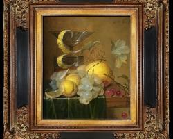 Tablou pictat cu  fructe de toamna, tablou cu struguri si citrice, tablou cu pahar de cristal cu picior inalt, Tablou floral, aranjamente  florale