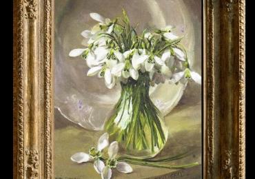 Tablou pictat cu ghiocei, tablou cu flori de primavara, tablou floral, Tablou floral, idei de cadouri, aranjamente  florale pentru ocazii deosebite