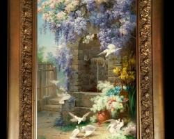 Tablou pictat cu gradina de flori si porumberi, Tablou floral, idei de cadouri, aranjamente  florale pentru ocazii deosebite