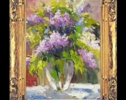 Tablou pictat cu liliac mov in vaza, tablou cu buchet de flori mov, Tablou floral, idei de cadouri, aranjamente  florale pentru ocazii deosebite