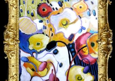 Tablou pictat cu maci, tablou cu flori abstracte, Tablou floral, idei de cadouri, aranjamente  florale pentru ocazii deosebite