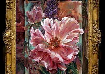 Tablou pictat cu magnolii, tablou cu lfori, Tablou floral, idei de cadouri, aranjamente  florale pentru ocazii deosebite