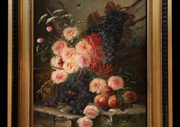 Tablou pictat cu piersici struguri si flori de trandafiri corai, Tablou floral, idei de cadouri, aranjamente  florale pentru ocazii deosebite