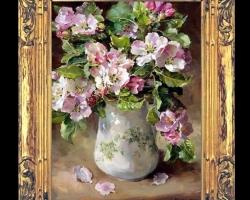 Tablou pictat cu ramuri cu flori de mar, tablou cu buchet de flori in vas ceramic pictat, Tablou floral, idei de cadouri, aranjamente  florale
