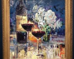 Tablou pictat cu sticla de vin si pahare de cristal asezate pe masa, tablou cu flori de trandafiri, Tablou floral, idei de cadouri, aranjamente  florale