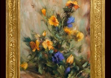 Tablou pictat cu trandafiri portocalii, tablou cu stanjenei, tablou cu tufa de flori, Tablou floral, idei de cadouri, aranjamente  florale