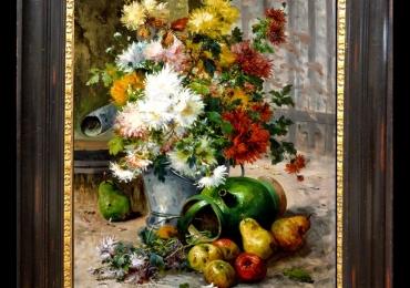Tablou pictat cu tufanica si fructe, tablou natura moarta, tablou cu flori de toamna, Tablou floral, idei de cadouri, aranjamente  florale
