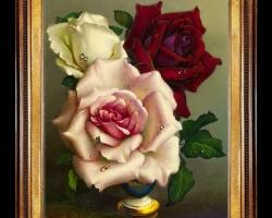 Tablou pictat flori de trandafiri, Tablou floral, idei de cadouri, aranjamente  florale pentru ocazii deosebite