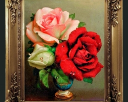 Tablou pictat flori de trandafiri albi, tablou cu trandafiri rosii, tablou cu trandafiri roz, Tablou floral, idei de cadouri, aranjamente  florale