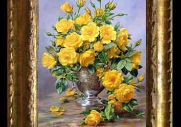 Tablou pictat flori de trandafiri galbeni infloriti, Pictura cu trandafiri, , Tablou floral, idei de cadouri, aranjamente  florale