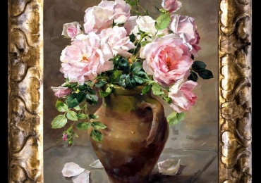 Tablou pictat flori de trandafiri roz in vas de lut, , Tablou floral, idei de cadouri, aranjamente  florale pentru ocazii deosebite