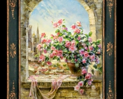 Tablou pictat flori de trandafiri roz la pervazul geamuli, Tablou floral, idei de cadouri, aranjamente  florale