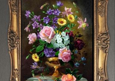 Tablou pictat flori de trandafiri si flori de gradina, , Tablou floral, idei de cadouri, aranjamente  florale pentru ocazii deosebite