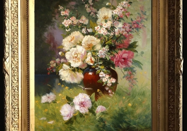 Tablou pictat flori de trandafiri si ramuri de mar inflorit in ulcica de lut, tablou cu buchet de flori, , Tablou floral, idei de cadouri
