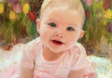 Tablou pictat la comanda, portrete la comanda, Tablouri pictate personalizate,  portret de bebelus