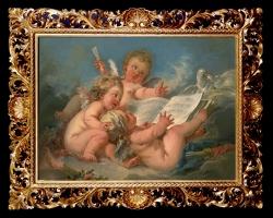 Tablou pictat manual cu ingerasi si partituri de muzica, tablou natura moarta