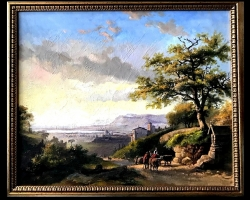 Tablou pictat manual in ulei pe panza. Peisaj de vara. Peisaj rural cu oameni