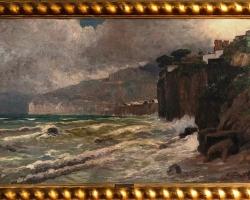 Tablou pictat manual in ulei pe panza. Peisaj de vara furtuna pe coasta