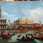 Tablou pictat manual in ulei pe panza. Peisaj de vara. Peisaj venetian, peisaj