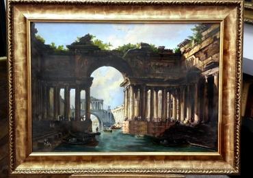 Peisaj venetian Tablou pictat manual in ulei pe panza. Peisaj de vara
