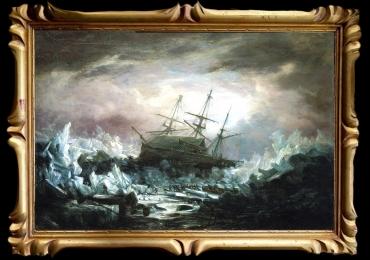 Tablou pictat manual in ulei pe panza. Peisaj cu furtuna. Peisaj valuri in ocen