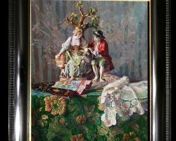 Tablou pictat natura moarta cu bibelou rar din cermica, idei de cadouri pentru ocazii deosebite