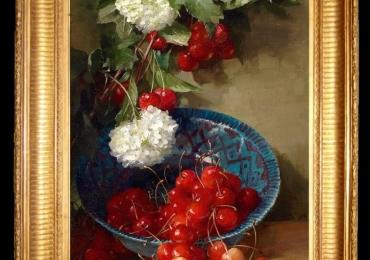 Tablou pictat natura moarta cu flori si cirese de mai, idei de cadouri pentru ocazii deosebite