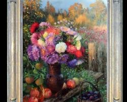 Tablou pictat natura moarta cu fructe si flori de toamna, , Tablou floral, idei de cadouri pentru ocazii deosebite