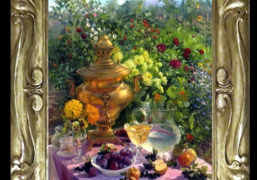 Tablou pictat natura moarta cu fructe, vin flori asezate in gradina de vara