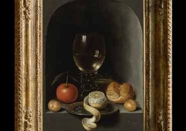 Tablou pictat natura moarta cu paine rosie lamaie caise si vin