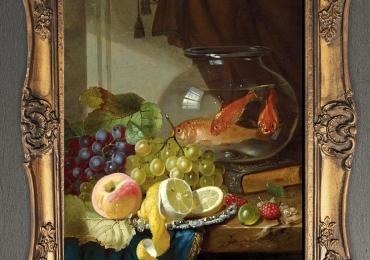 Tablou pictat natura moarta cu pesti aurii in bol de sticla, tablou cu fructe