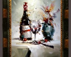 Tablou pictat natura moarta cu sampanie si pahar de vin